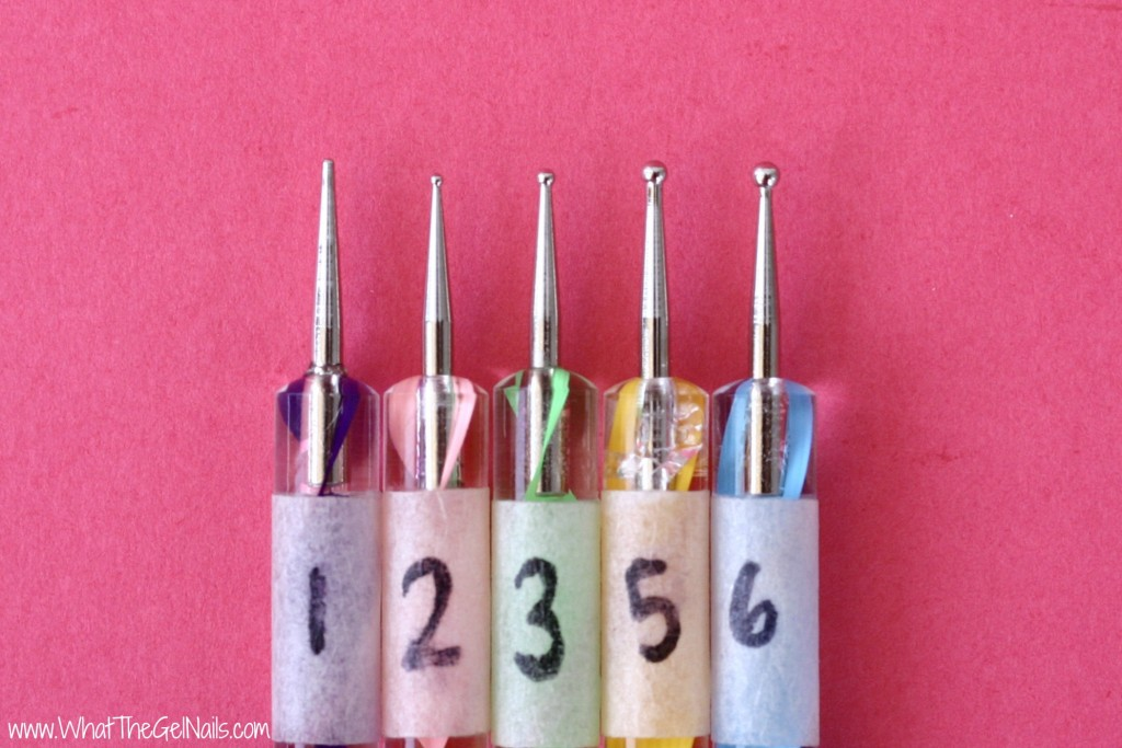 Label dotting tools so you can easily tell how big each one is. Dotting tools are very affordable and make it easy to create beautiful nail art. They are also great for a gel polish manicure.