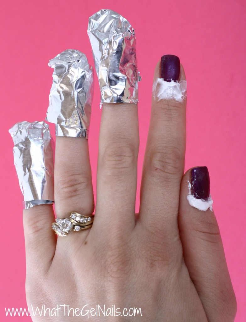 How to Take Off Gel Polish at Home. Cover fingernails with acetone soaked cotton ball and aluminum foil.