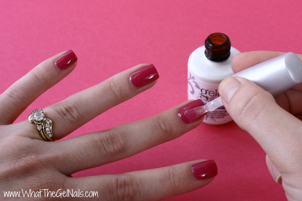 Tips and Tricks for Gel Polish Beginners. Completely cover color with the top coat.
