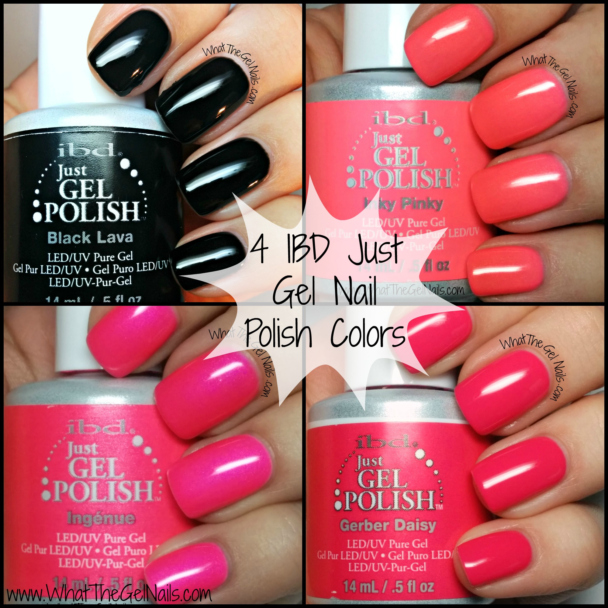 Black and Pink IBD Just Gel Nail Polish Colors