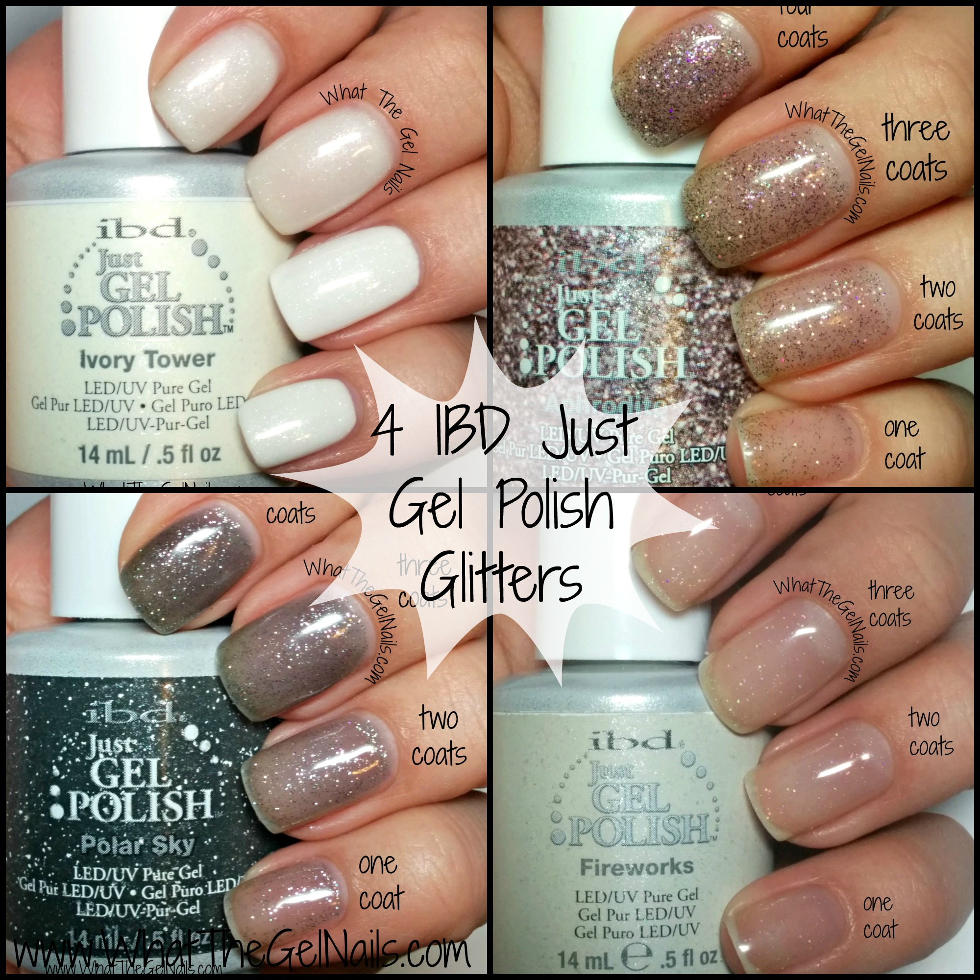 Swatches of 4 IBD Just Gel Polish Glitters