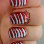 Candy Stripes Christmas Gel Polish Manicure