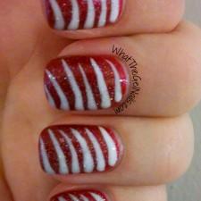 Candy Stripes Christmas Gel Polish Manicure