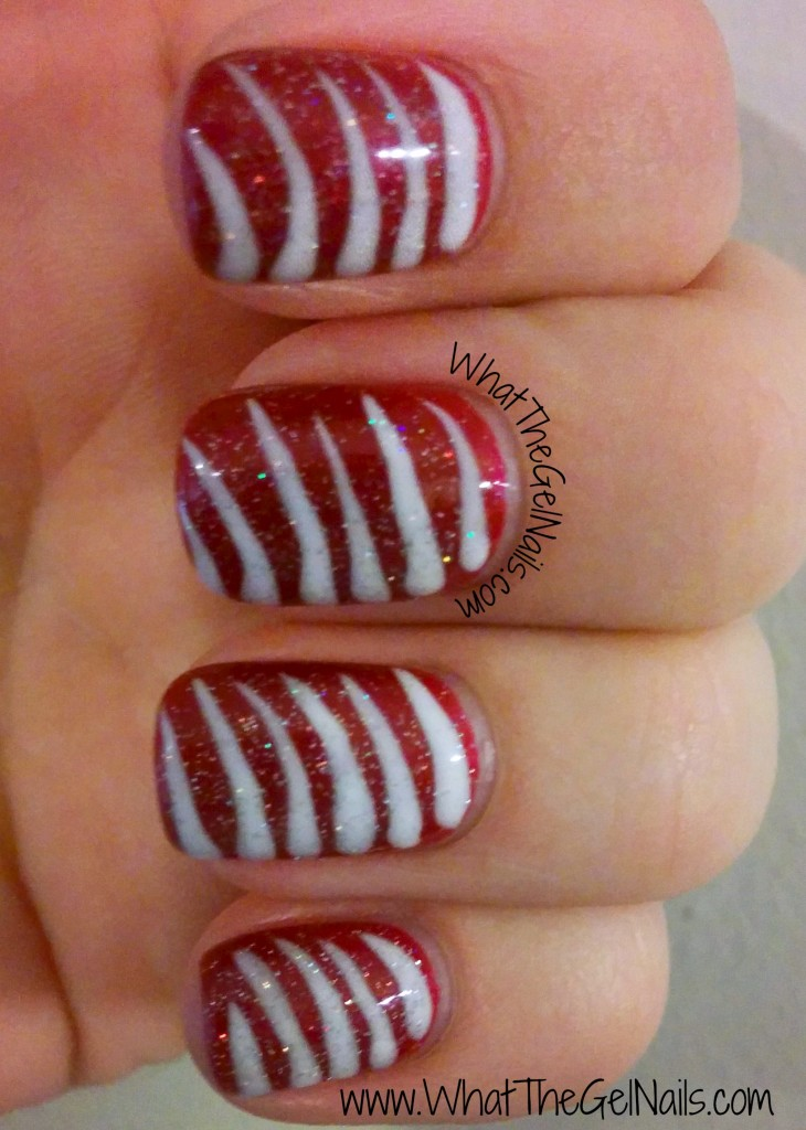 Candy Cane stripe Christmas gel polish manicure.