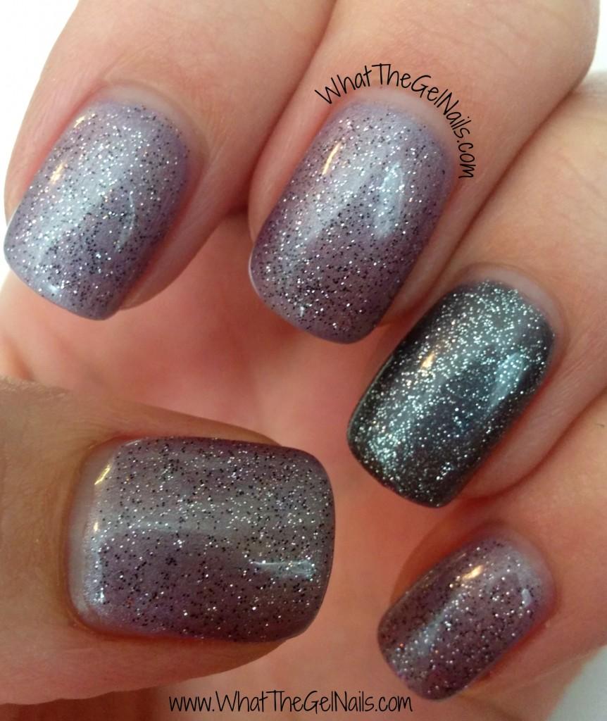 New Years Eve Manicure with Gel Polish. Has IBD Amethyst Surprise, IBD Polar Sky, and IBD Aphrodite.