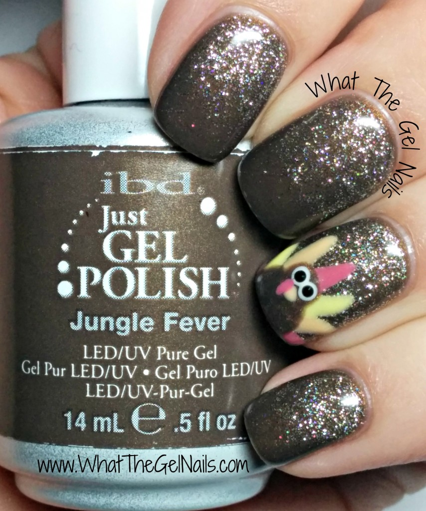 Thanksgiving gel polish nail art with turkey.