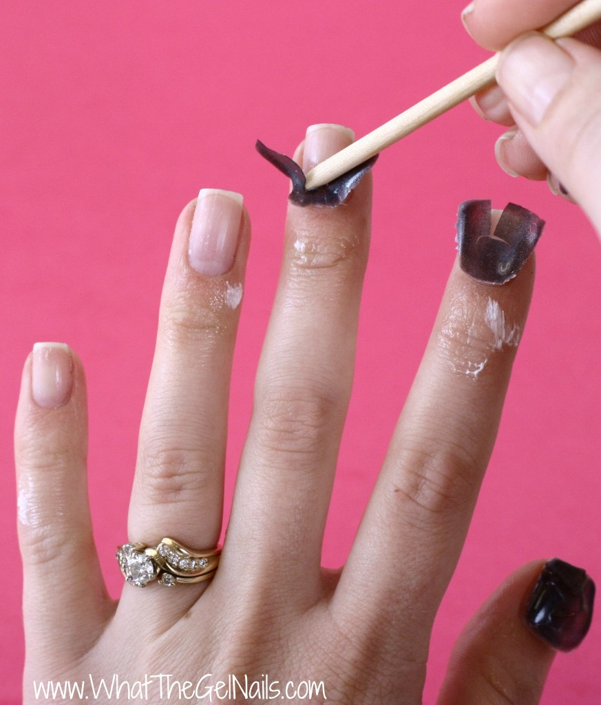 Nail Mates for gel polish removal. Remove any remaining gel polish using an orangewood stick.