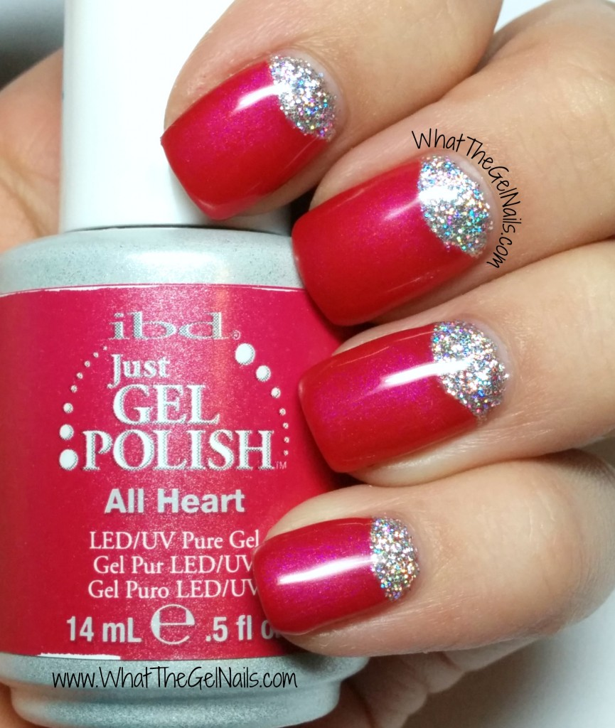 Gel polish half moon glitter nails using IBD All Heart and loose glitter.