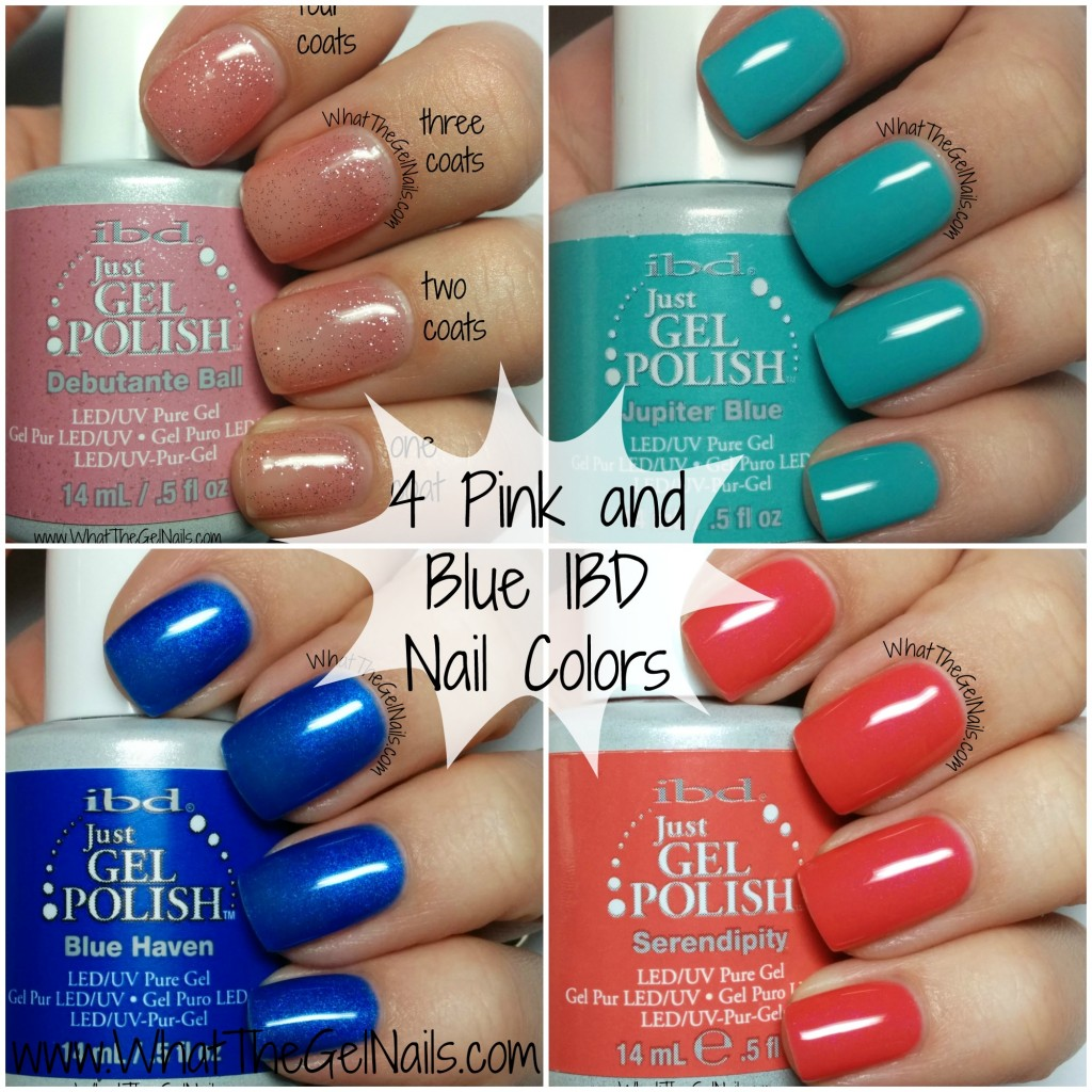 4 Pink and Blue IBD Nails Colors